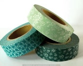 Teal Wedding Decor Teal / Mint Japanese Washi tape Set of 3 - 15mm