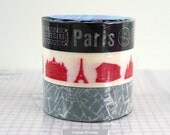 BLACK and WHITE Paris Tape Map Monuments japanese masking tapes - Set of 3