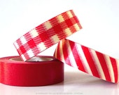 Red Gingham Stripe and Solid Japanese Washi Tape Set of 3 for holiday packaging, scrapbooking