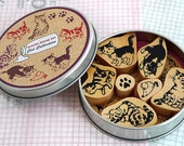 CAT Rubber Stamps Set - FAVORITE Stamp Cute Cats, Pawprint, Mouse