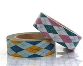 Argyle Pattern Paper Tape - Pink Yellow ( set of 2 cuties ) NEW