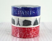 Red White Blue Paris Tape - Map Monuments paper washi tapes - Set of 3 paris decoration