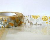 Japanese Washi Tape - Little Garden GREY and YELLOW Orange Masking Tape 15mm Wedding, Birthday, Gift Wrap and Packaging - PrettyTape