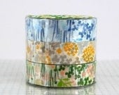 Little Garden Flower Washi Tape - CHOOSE ONE COLOR - Single, Blue, yellow / grey or Peach / green