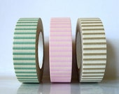 Japanese Decorative Washi masking tape Set of 3 - Stripes - PRETTY green pink brown (D)