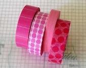 Japanese Masking Tape PINK Polka Dots Stripes Pattern Washi Tape 15mm Set of 4 PrettyTape