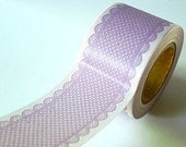 Pretty LACE DOTS Pattern Japanese Washi Tape- Purple LAVENDER Paper Goods 38mm - Wedding, Parties