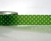 Japanese green Washi Tape - White on Green Polka Dots 15mm