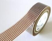 Brown Washi Tape Horizontal Striped Lines 15mm Japanese MT Masking Tape - PrettyTape