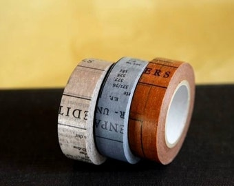 OLD BOOKS Washi Tape Set of 3 Japanese Washi Paper Tape - 147ft total