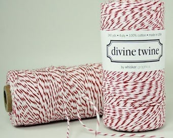Red Bakers Twine Red Twine Red and White Stripes Cotton String 240 Yards