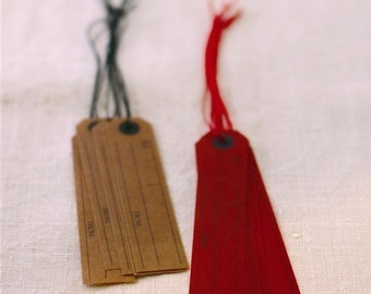 Japanese Wax Paper Hang Tag Brown and Deep Red Set of 10 Holiday Gift Wrapping