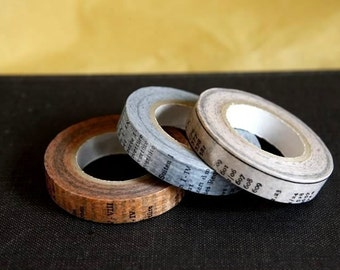 Old Books Japanese Masking Washi Tape set of 3 - 10mm Oldbooks from PrettyTape