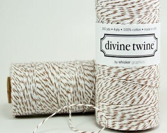COCOA BROWN Bakers Twine- Brown Twine with white stripe 240 Yards of Twine String