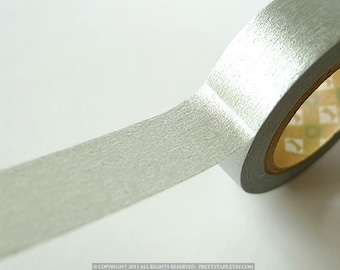 Japanese Washi Tape - Solid SILVER washi tape 15mm masking tape perfect for wedding decorations and paper crafts