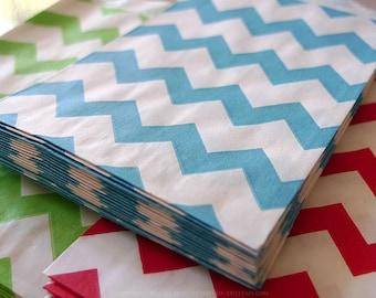 Aqua BLUE Chevron Paper Bags 2.75 x 4 - Packet of 20 Treat bags