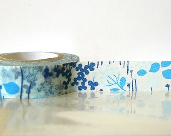 Japanese Washi Tape - Little Garden BLUE Masking Tape 15mm Wedding, Gift Wrapping