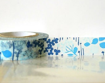 Japanese Washi Tape - Little Garden BLUE Masking Tape