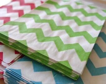 GREEN Chevron Stripe Pattern Treat Bags 2.75 x 4 - Packet of 20
