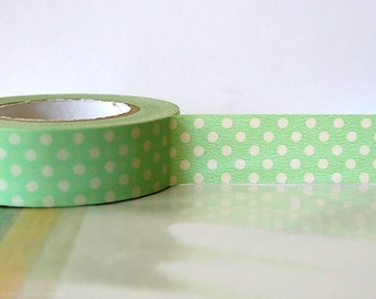 Pastel GREEN Polka Dots Japanese Washi Tape - 15mm Gift Package, Cardmaking