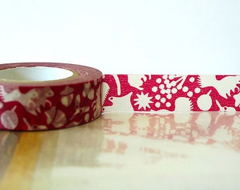 Fall Japanese Washi Tape - Red Squirrel, Acorn, Leaves Masking Tape 15mm Embellishment, Scrapbooking