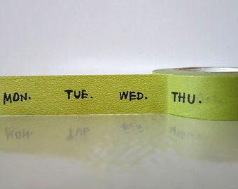 Green Days Japanese Washi Tape - Days of the Week Masking Tape