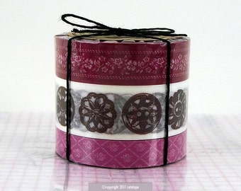 Floral Antique Button Pattern Set of 3 BORDEAUX - Japanese Masking Tape cardmaking supplies