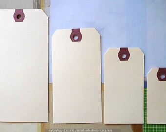 Blank Manila Tags in MEDIUM Gift Tags 3 3/4x1 7/8 Set of 50 Die Cut Scrapbook Cards