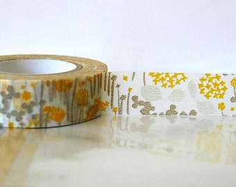 Japanese Washi Tape Little Garden GREY and YELLOW Orange Masking Tape 15mm Wedding Decoration, Gift Wrap and Packaging Craft Tape