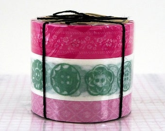 Vintage Button Style Pattern Floral Washi Tape Set of 3 PINK - theme button wedding decor