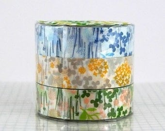 Flower Washi Tape little garden - CHOOSE ONE COLOR - Single, Blue, yellow / grey or Peach / green