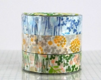Flower Japanese Washi Tape little garden Japanese masking tape - CHOOSE ONE COLOR - Single, Blue, yellow / grey or Peach / green
