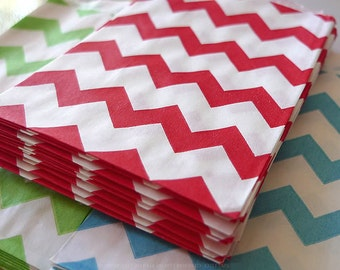 Red Stripe Chevron Paper Bags 2.75 x 4 in Wedding, BIrthday Goodie Bags - 20