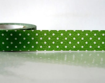 Japanese Washi Tape - White on Green Polka Dots Pattern 15mm SINGLE