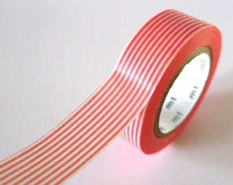 Pink CORAL Washi Tape Horizontal Striped Lines 15mm Japanese MT Masking Tape - PrettyTape