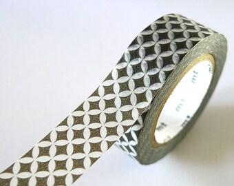 Petal Circle Star Washi Tape GREY 15mm Japanese MT Masking Tape - PrettyTape