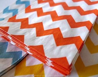 Orange Chevron Paper Bags 2.75 x 4 in Popular Wedding, BIrthday Goodie Bags - Packet of 20