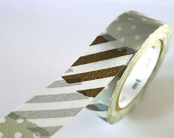 Grey SILVER PATCH Collage Washi Tape 15mm Japanese MT Masking Tape - PrettyTape