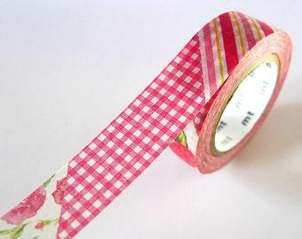 Vintage Style mt ex RED Stripe Gingham Floral Washi Tape 15mm Japanese Masking Tape - PrettyTape