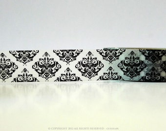Black Damask Tape Black and White Damask Washi Tape (Chugoku)  Paper Tape