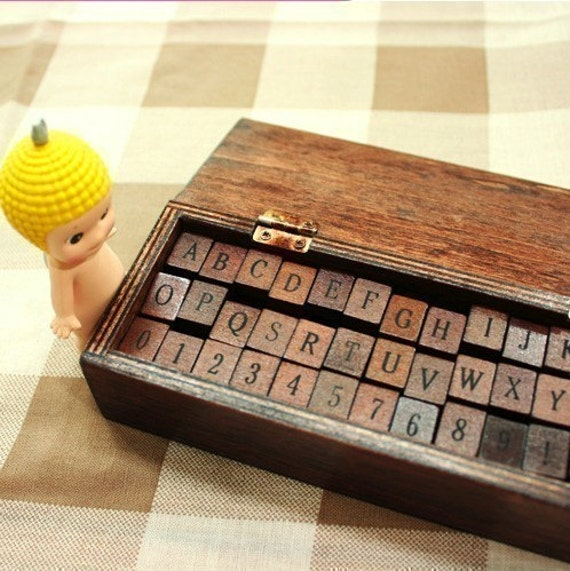 42 Antique Alphabet and Number Wooden Rubber Stamps Set