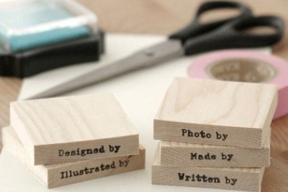 Wooden Stamp Set - Made By, Designed By, Photo By, Written By, Illustrated By  - Set of 5