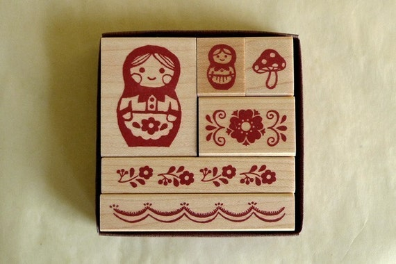 Matryoshka Rubber Stamps Set Mushroom Flower Border