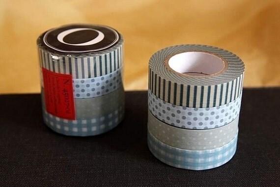 Classiky Japanese Masking Tape set of 4 - Stripe Dots Grid 13mm (O)