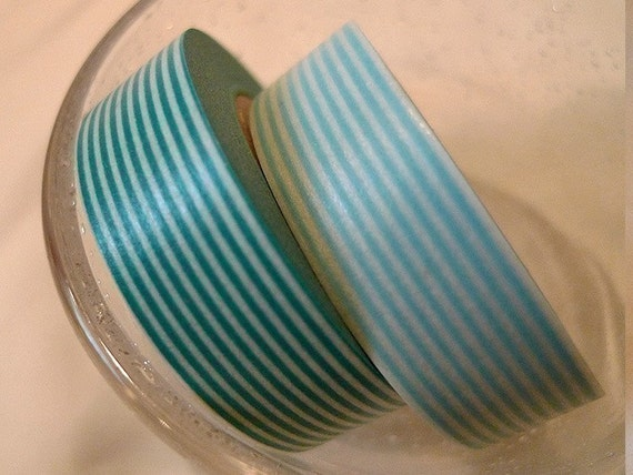 Turquoise Stripe Japanese washi tape and Baby Blue Stripe Tapes ( Set of 2 Cuties )