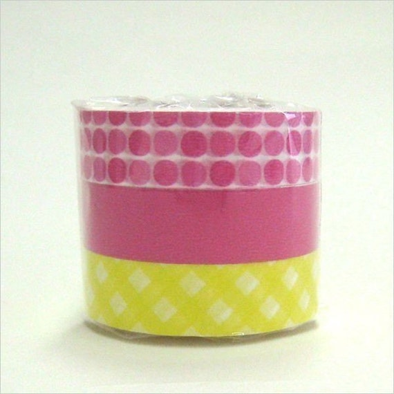 Japanese washi tape - FUN Candy Colors Pink and Yellow Set of 3