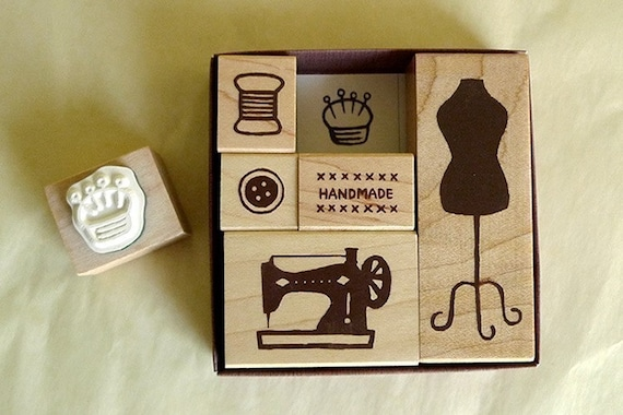 Sewing Rubber Stamp- Sewing Machine, Button, Mannequin Stamp Set