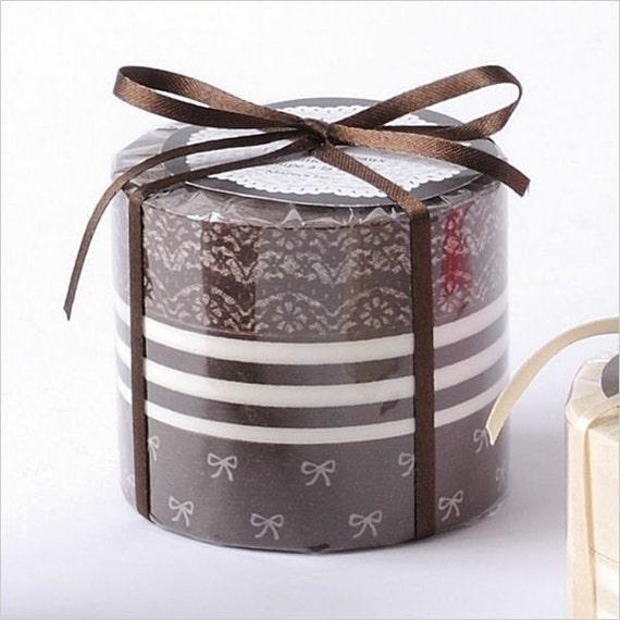 Japanese Masking Tape Set of 3 - BROWN Lace, Stripe, Bows