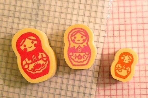 Matryoshka Russian Doll Stamp Japanese Set of 3