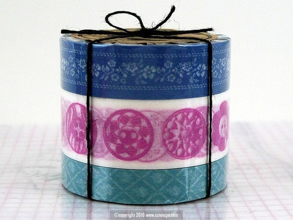 Floral Antique Button Notions Pattern Set of 3 BLUE Washi Tape- must have card making supplies